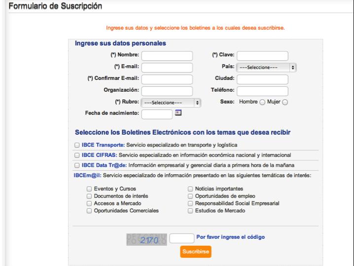 Example e-newsletter subscription IBCE, Boliva