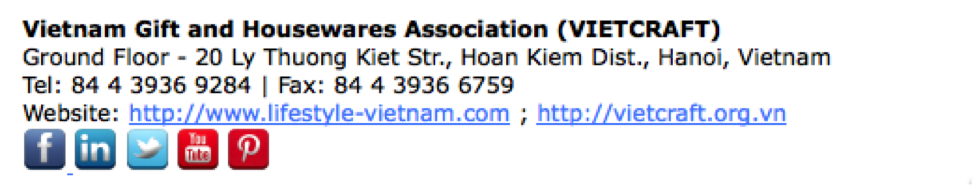 Example email signature line Vietcraft, Vietnam