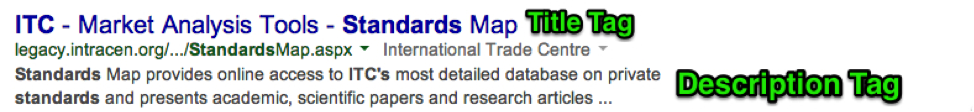 Example of Title and Description Tag – ITC Standards Map